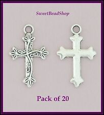 20 Antique Silver Colour 25 x 16mm Religious Fancy Patterned Cross Charms