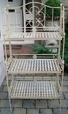 Rustic Cream Metal 3 Tier Folding Plant Pot Stand Shelving Unit