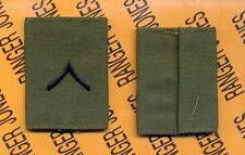 US ARMY Enlisted PRIVATE PVT E-2 OD Green & Black slip on rank patch