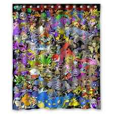 Custom Shower Curtain Pokemon Collection 12 holes to which rings attach