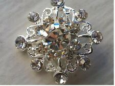 Snowflake Rhinestone Silver Metal Buttons Bridal Embellishment, 19 mm 10 pieces