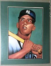 Mickey Mantle Matted Print 1952 Topps Pose By Gerry Dvorak Still in Shrink Look!