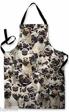 PUGS ALL OVER DESIGN APRON KITCHEN BBQ COOKING PAINTING GREAT GIFT IDEA