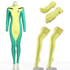 X Men Cosplay Rogue Costume Anna Marie Costume Jumpsuit+Gloves+Stocking