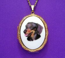 Porcelain Black & Tan DACHSHUND WEINER DOG CAMEO Locket Necklace Valentine Gift