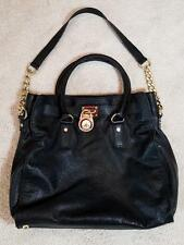 Michael Kors HAMILTON Black Leather Hobo Bag Tote Gold Chain/Lock & Key used 1x