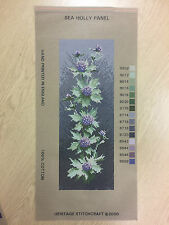 NEEDLEPOINT TAPESTRY PRINTED CANVAS ONLY - HERITAGE COLLECTION - SEA HOLLY PANEL