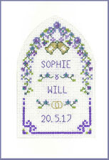Cross stitch Wedding Greetings purple passion card with arch - kit on 16 aida