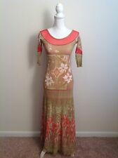 Save The Queen Brown Pink Multi Color Floral Print Maxi Dress Size Medium M
