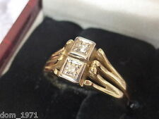 14k 14ct Solid Gold Natural Twin Diamond Ring. 0.08ct Size N-O 3.38g