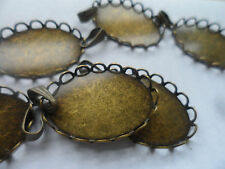 10 Bronze Pendant settings bezels bases DIY Findings Lace Edge tray 25x18mm
