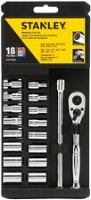 New Stanley 18-Piece Standard SAE Metric Mechanic's Tool Set Hard Case