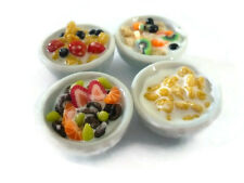 Set of 4 White Bowl of Corn Flakes and Mix Fruit  Dollhouse Miniatures Food - 1