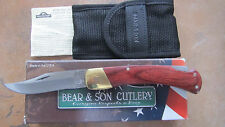 "BEAR & SON 5"" LOCKBACK HUNTER ROSEWOOD HANDLE KNIFE 299R W NYLON SHEATH USA MADE"