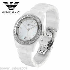 New Emporio Armani AR1426 SWAROVSKI Crystal, White Ceramica  Watch with tags