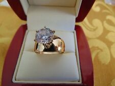 Solid 14k Yellow Gold  Solitaire Man Made Diamond Engagement Ring 2 ct Round Cut
