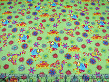 3 Yards Quilt Cotton Fabric - Paintbrush Studio Calypso Frogs & Flowers Lime Grn
