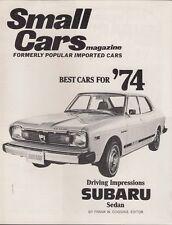 Subaru 1400 Sedan Road Test 1974 USA Market Brochure Small Cars Magazine Leone