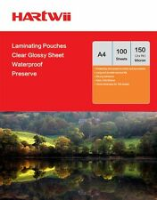 Hartwii 100 Sheets A4 Glossy Clean Clear Laminating Pouches Film 150 Micron