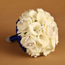 Real Touch Calla Lily Flower Crystal Pearl Pin Bridal Wedding Bouquet Decor
