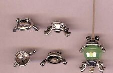 2-piece Frog bead caps Silver Charm, Pendant 1 Set Free ship after first 1. #3
