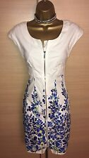 Exquisite Karen Millen Blue Flowers Zip Front Dress UK8
