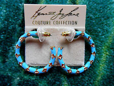 Kenneth Jay Lane Small Gold Turquoise Enamel Bamboo Hoop Pierced Earrings