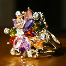 Fashion Multi-color Topaz Birthstone Gold Filled Wedding Bridal Ring Gift Size 8