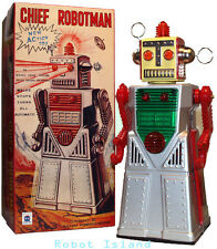 Chief Robotman Tin Toy Robot Silver Battery Operated