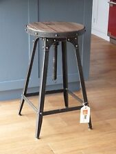 Café style adjustable Stool artisan urban vintage industrial Pewter colour