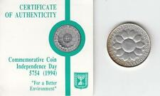 """1994 ISRAEL 46th ANNIVERSARY """"FOR A BETTER ENVIRONMENT"""" PR COIN 28.8gr SILVER #2"""