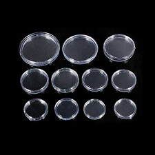 10x Clear Crafts Collection Containers Coin Capsules Holders Boxes 18mm-50mm