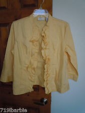 Chico's womens ladies 3/4 sleeve open-front casual colored jacket size 0  yellow