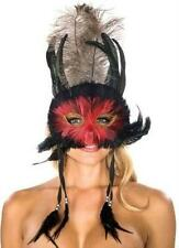 Red and Black Feathers Venetian Mask with dangling Feathers Masquerade Eye Mask
