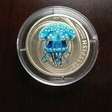 2010 Pitcairn Jellyfish $2 1/2 oz .925 Pure Silver Colored Proof Coin