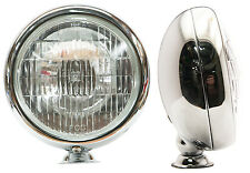 Vintage Flat Back Style Fog Light Chrome Housing w/t Clear Lens