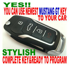 NEW GT STYLE FLIP KEY REMOTE FOR 2011-14 FORD MUSTANG CLICKER CHIP KEYLESS ENTRY