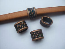 10 Antique Copper Dots Slider Spacer Bead Bracelet Findings For Licorice Leather