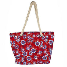 Lux Accessories Womens Extra Large Zip Up Beach Tote Bag Red Flowers