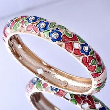 womens vintage jewelry Yellow Gold plated flower Enamel clear crystal Bangle