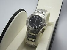 Movado Swiss Gentry Black Sapphire Face Stainless Steel Watch
