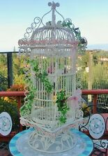 Ornate White Bridal Bamboo Wood Rattan Bird Cage Stand Large Wedding Victorian!