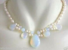 Fashion Natural Blue Fire Opal W. Fresh Water Pearl Cluster Necklace 18''