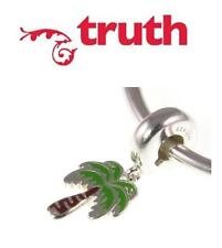 Genuine TRUTH PK 925 sterling silver palm tree dangle European charm bead