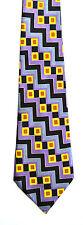 Men's New Neck Tie, Classic, Wide, Purple Yellow stripe design by Aldo Baldini