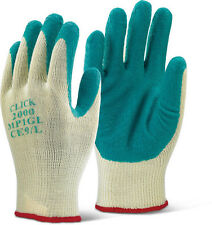 10 Pairs Click 2000 MP1 Gloves Latex Palm Rubber Coated Builders Grip Green 9/L