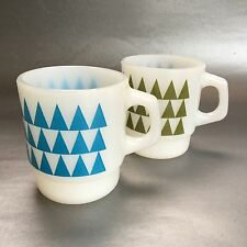 2 Mint Vintage Anchor Hocking Fire King Green Blue Triangles Mug Cup Milk Glass