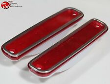 73-80 Chevy GMC Truck Red Front Side Marker Lamp Light Lens Set Stainless Trim