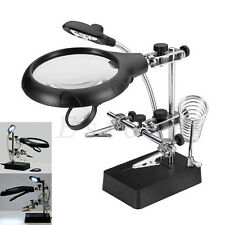 2.5X 7.5X 10X 3rd Helping Hand Soldering Iron Stand 5 LED Magnifier Glass 3 Lens