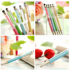 2in1 Crystal Ballpoint Touch Screen Stylus Pen For iPhone Samsung Tablet ACT